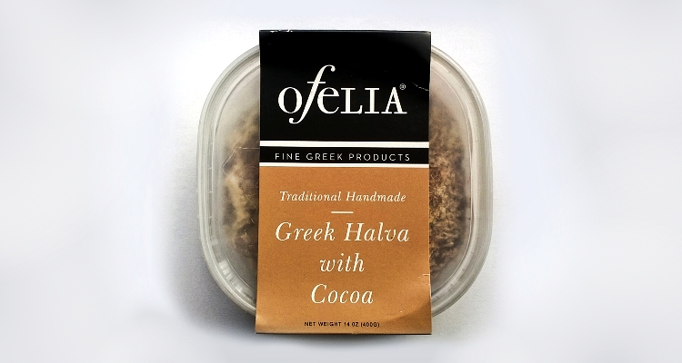 Packaging of Handmade halva with cocoa by Ofelia