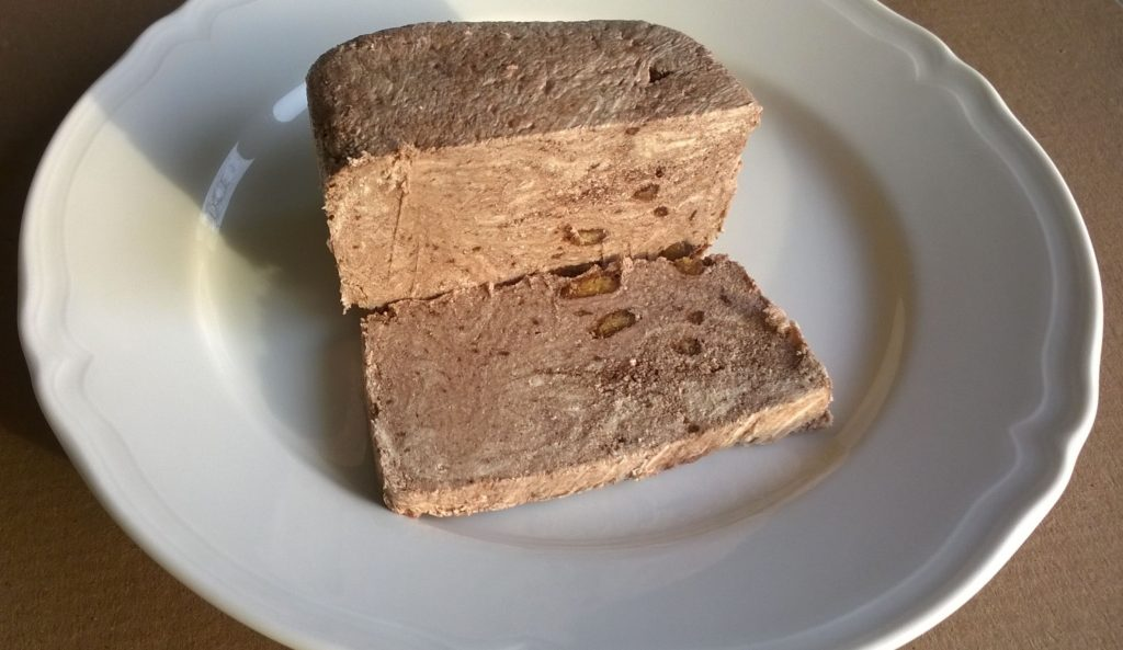 Sliced block of Tahini Confection with Biscuit & Cocoa by Halvas Drapetsonas