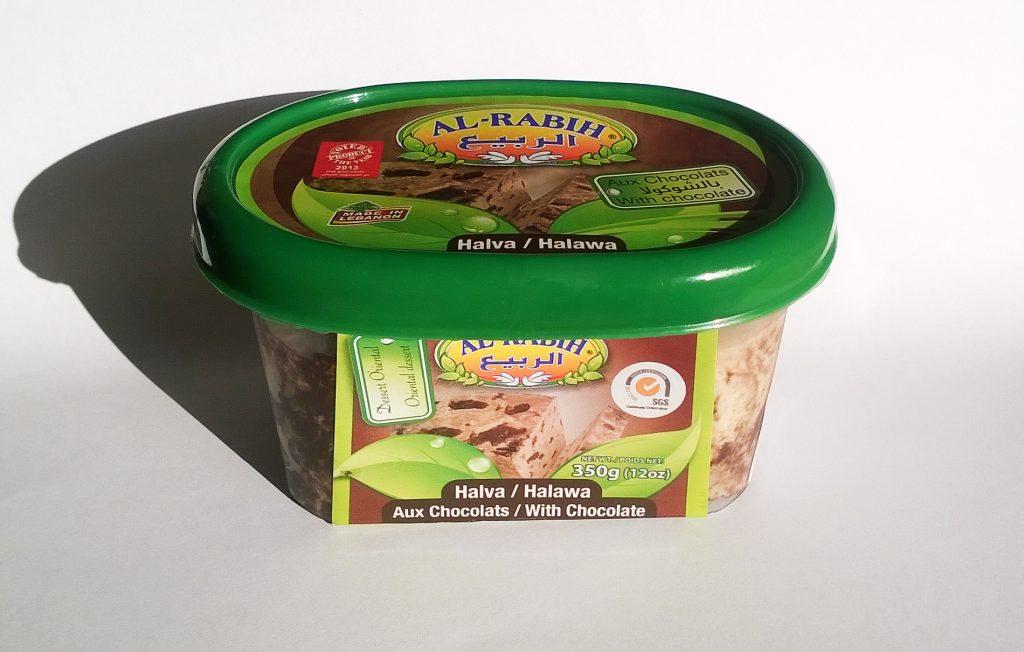 Container of Al-Rabih halva with chocolate
