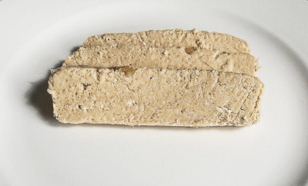 Three slices of Achva sugarless halva with fiber and walnuts