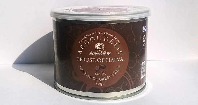 Front of the packaging of Halva Cocoa by Argoudelis