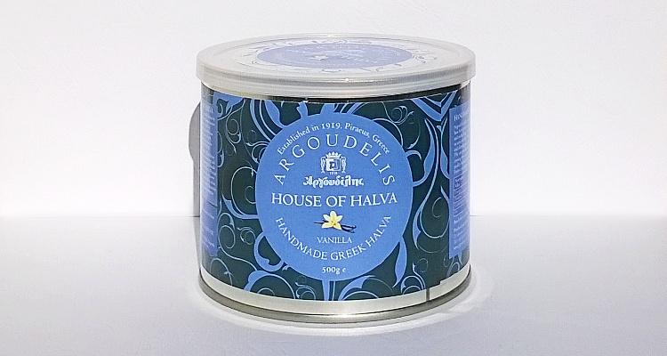 Front of the packaging of Argoudelis Halva Vanilla