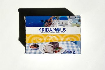 Packaging of Eridanous Halva with Almonds and Dark Chocolate CoatingPicture of Eridanous Halva with Almonds and Dark Chocolate Coating
