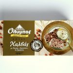 Packaging of Olympos Royal Halva with Cocoa, Almonds & Raisins by Papayianni Bros