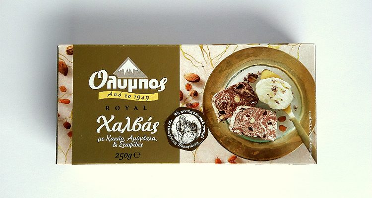 Packaging of Olympos Royal Halva with Cocoa, Almonds & Raisins by Papayianni Bros packaging