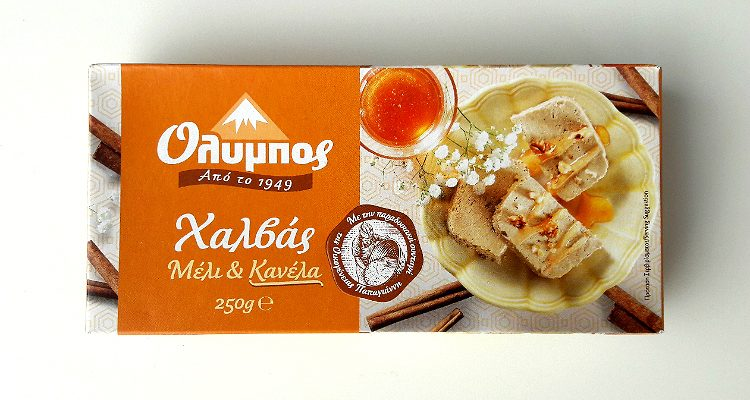 Packaging of Olympos Halva Honey & Cinnamon by Papayianni Bros