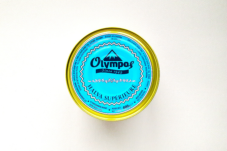 Picture of the can of Olympos Halva Pistache